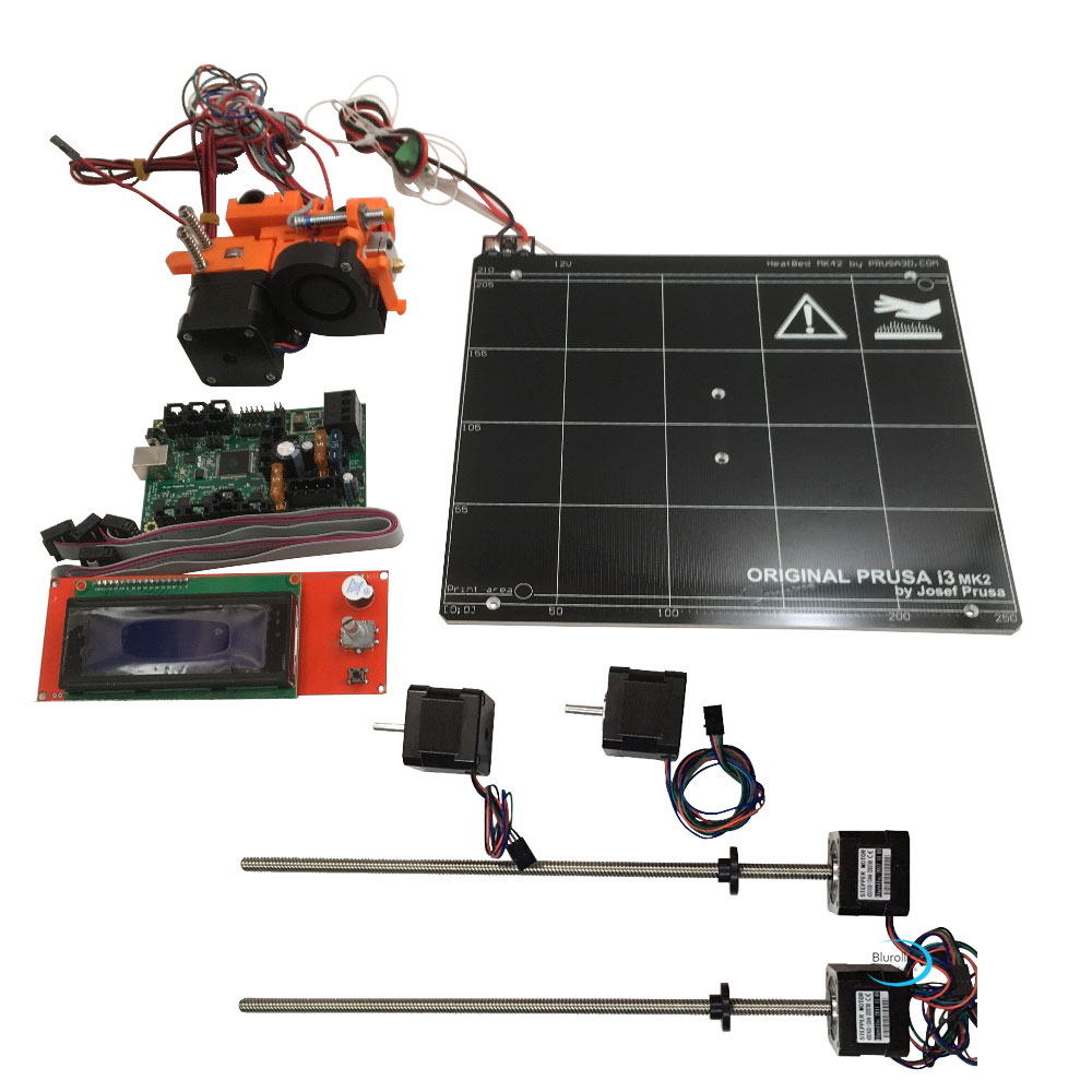 Prusa i3 mk2 mk2s 3d printer DIY kit with Mini-Rambo 1.3a board 2004 LCD, aluminum heated bed, hot end kit, stepper motors heated bed for prusa i3 mk2 mk2s 3d printer heated bed with pei tape aluminum alloy clone compatible with mini rambo 1 3a