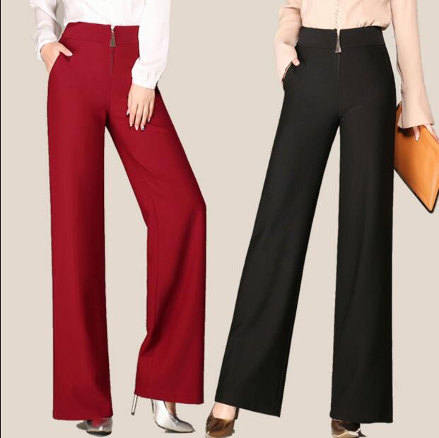 2019 new autumn and winter thick Fashion casual plus size black female women loose high waist   wide     leg     pants   clothes 79018