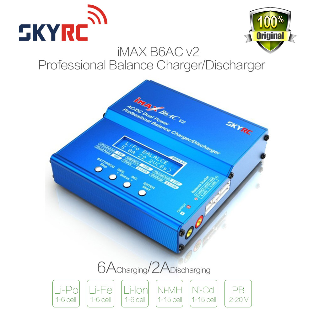 Original SKYRC IMAX B6AC Charger 50W Lipo Battery Balance RC Discharger Helicopter Quadcopter With Power Adapter For RC Model for imaxrc imax b3 pro compact 2s 3s lipo balance battery charger for rc helicopter