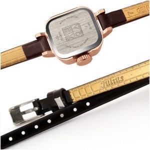 Image 4 - יוליוס ייחודי כיכר קטן חיוג קטן גבירותיי שעונים נשים דק עור רצועת קוורץ שעונים רוז זהב נשי שעון Montre Femme