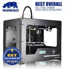 WANHAO Металлический Каркас Дубликатор 4S reprap комплект, с Двойной Экструдер, reprap комплект 3D Принтер MK9 Обновления, 2 бесплатный filamentsand LCD