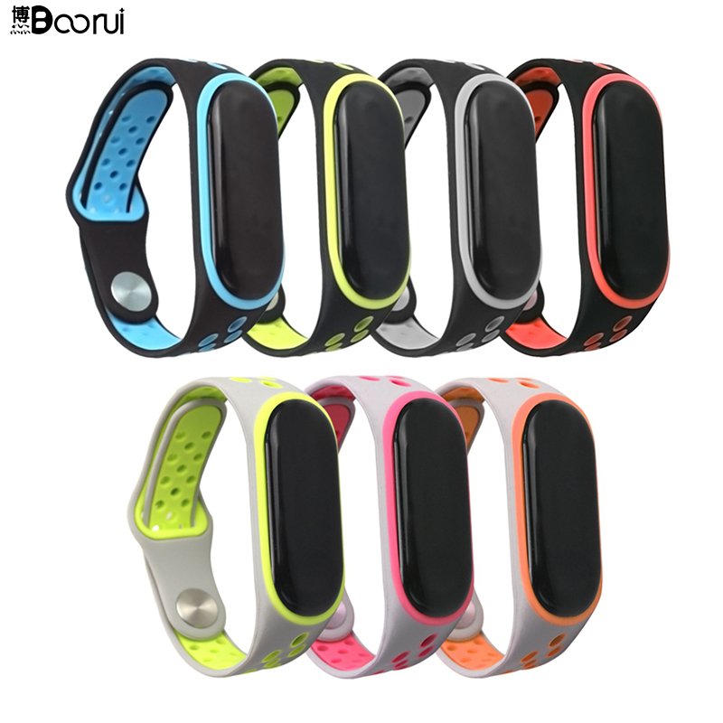 BOORUI Fashional Sports Mi Band 3 Strap Silicone Strap Miband 3 Replacement For Xiaomi Mi 3 Smart Bracelets With Reversal Buckle