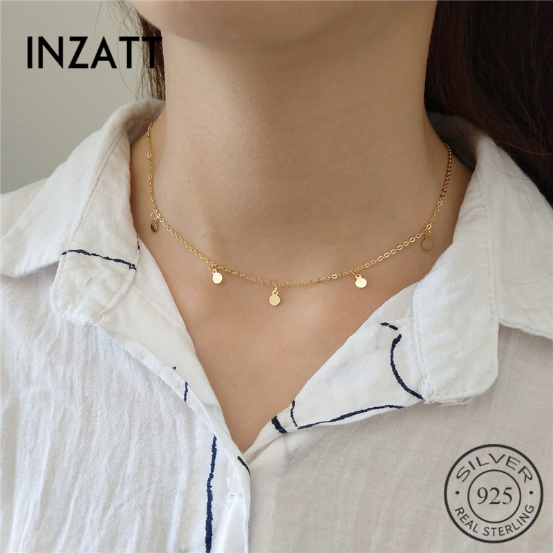 INZATT Real 925 Sterling Silver Minimalist Geometric Bright Disc Choker Necklace For Fashion Women Boho  Jewelry Bohemia Gift