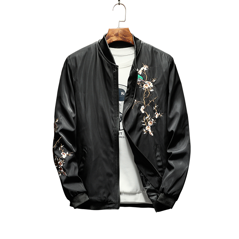 Man Jacket Flower Embroidery Spring and Autumn 2018 New Mens Jacket Zipper Brand Streetwear Hip Pop Bomber Jacket Men
