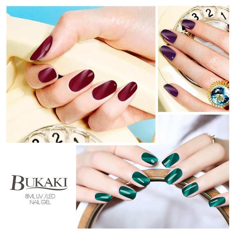 BUKAKI brillo de uñas llama ojo de gato rojo esmalte de uñas pintura híbrida arte remojo de uñas de Gel UV manicura barniz