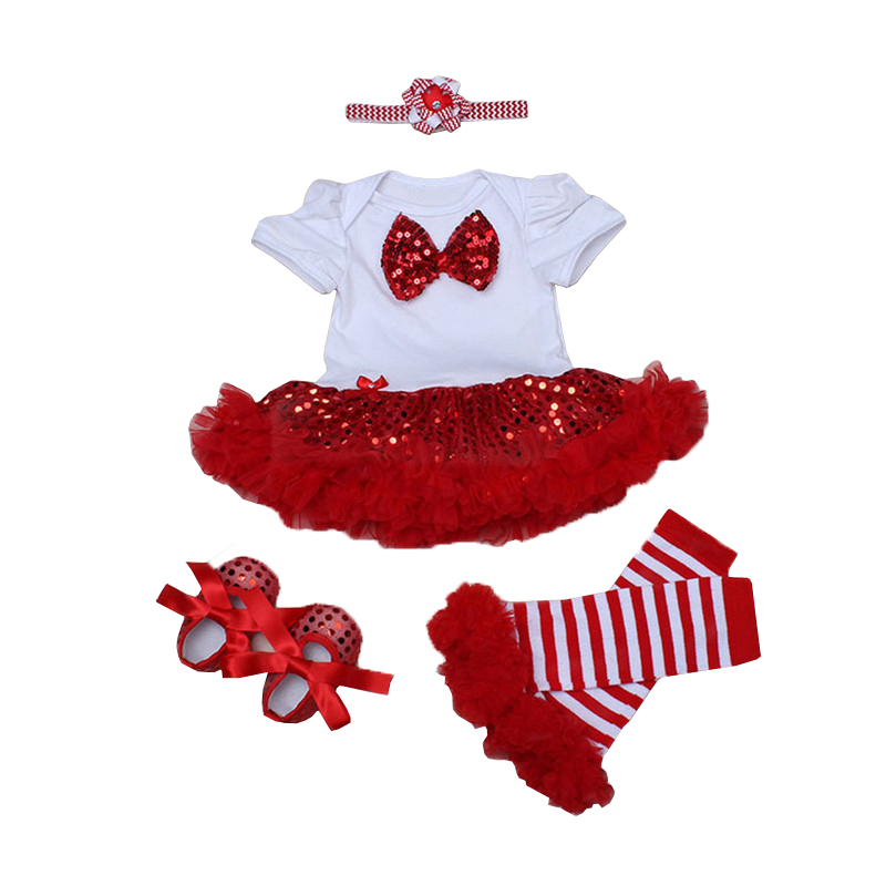European bebes Girl Children Clothes Sets Short Sleeve Bow Sequined Romper Tutu Dress + Legging + Shoes + Headband 4pcs Girl Set