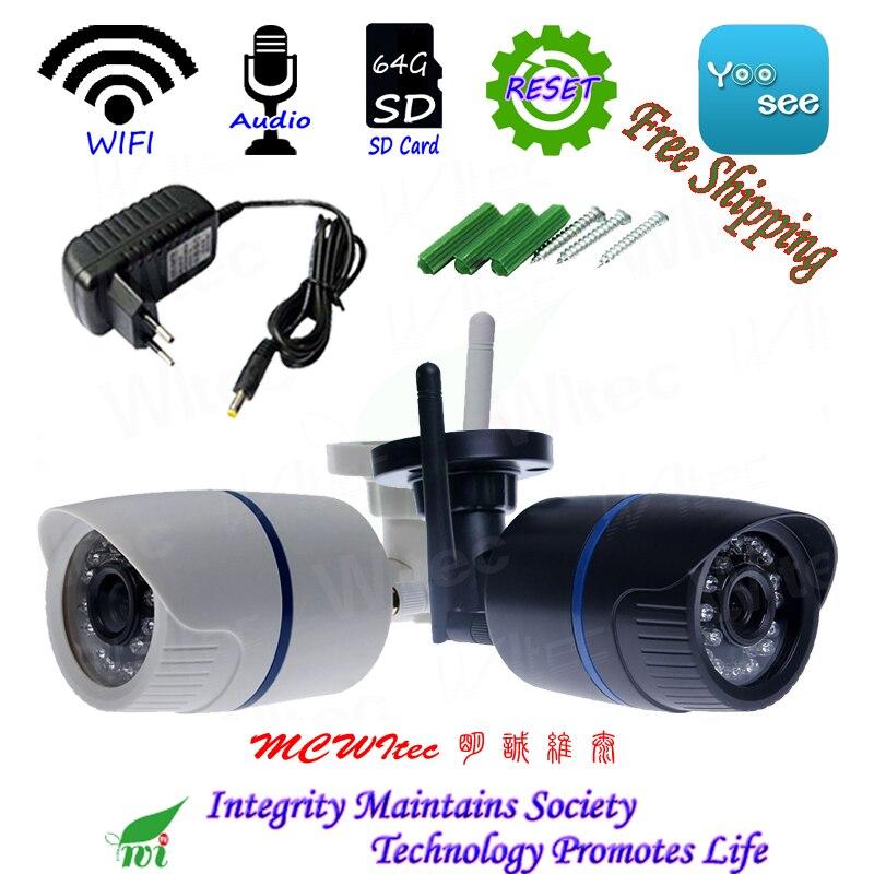 H.265 RTSP CIB 64G SD Carte WIFI 1080 P 720 P IR Bullet Extérieure ONVIF de Sécurité D'alarme Vue de Nuit p2P IP Cam Réinitialiser CCTV Audio Caméra