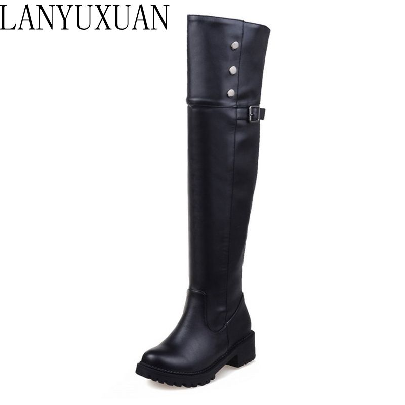 LANYUXUAN Winter Boots Super Size <font><b>30</b></font>- 52 Women Over Knee Wedge Boots Woman Snow Botas Fashion Warm Boot Footwear <font><b>Shoes</b></font> X-01 image