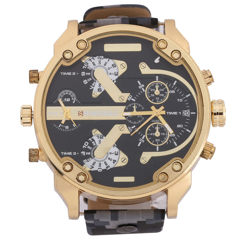 Luxury Brand Quartz Watches Men Watch Golden Case Camouflage Strap Dual Time Zones Military Mens Watches Sport Reloj Hombre New