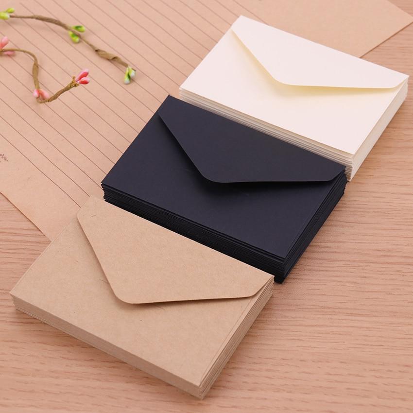 20 штук классическая белая черная крафт-бумага пустые Мини бумажные конверты с окошком для свадебных приглашений конверт Подарочный конвер...