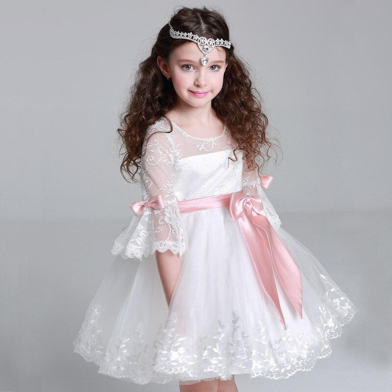 Buy princess white lace flower girl for Wedding dress for kid girl