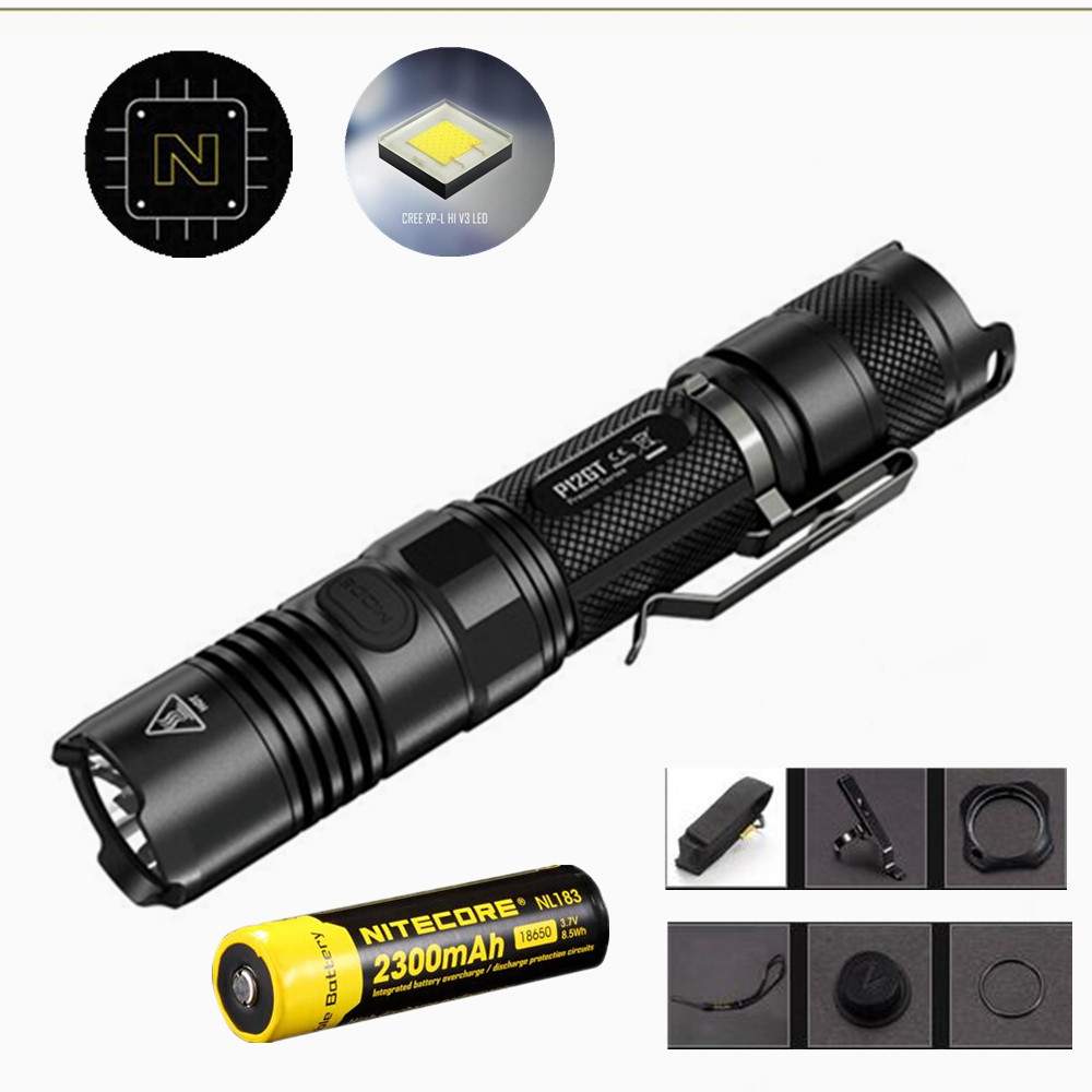 NITECORE P12GT Flashlight with Nitecore Nl183 2300mah 18650 battery 7 modes CREE XP-L HI V3 LED 1000 lumens 320m beam distance nitecore p12gt cree xp l hi v3 1000 lumens led flashlight for gear military rechargeable led tactical flashlight torch