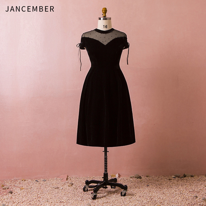 JANCEMBER Plus Size Cocktail Dresses Bow Cap Sleeve Illusion High Neck Zipper Crystal A-Line 2019 Latest Cocktail Dress Party