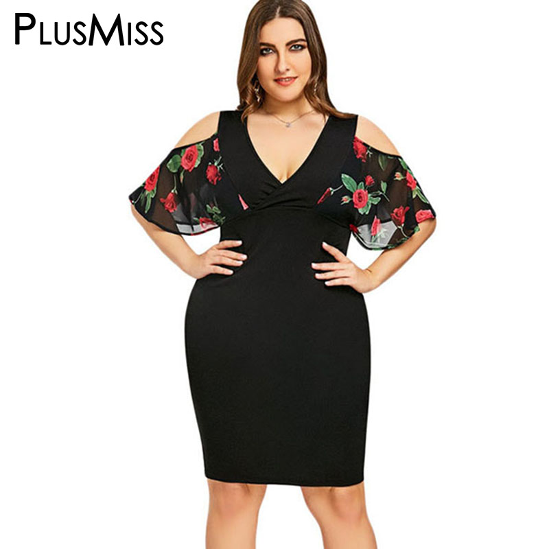Detail Feedback Questions about PlusMiss Plus Size 5XL XXXXL XXXL Sexy V  Neck Floral Flower Print Bodycon Dress Women Black Cold Shoulder Party  Dresses Big ... 52812ef5b467