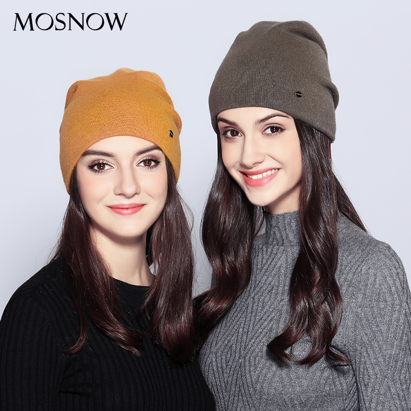 MOSNOW Women s Hats Wool Casual Autumn Winter Brand New Double Layer Thick 2017 Knitted Hats