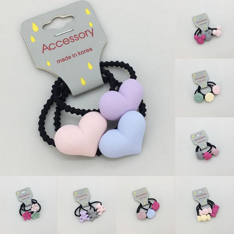 3PCS Cute Apple Flower Princess Headwear Elastic Hair Bands Girls Colorful Mini Headdress Tie Gum Ropes Hair Accessories hair tie 3pcs