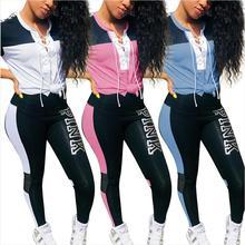 b53f3a5bb87d8d Rosa Letras Imprimir 2 Peça Conjunto Roupa Das Mulheres Plus Size Top E  Calça Casual Suor Ternos de Duas Peças Camisola Treino