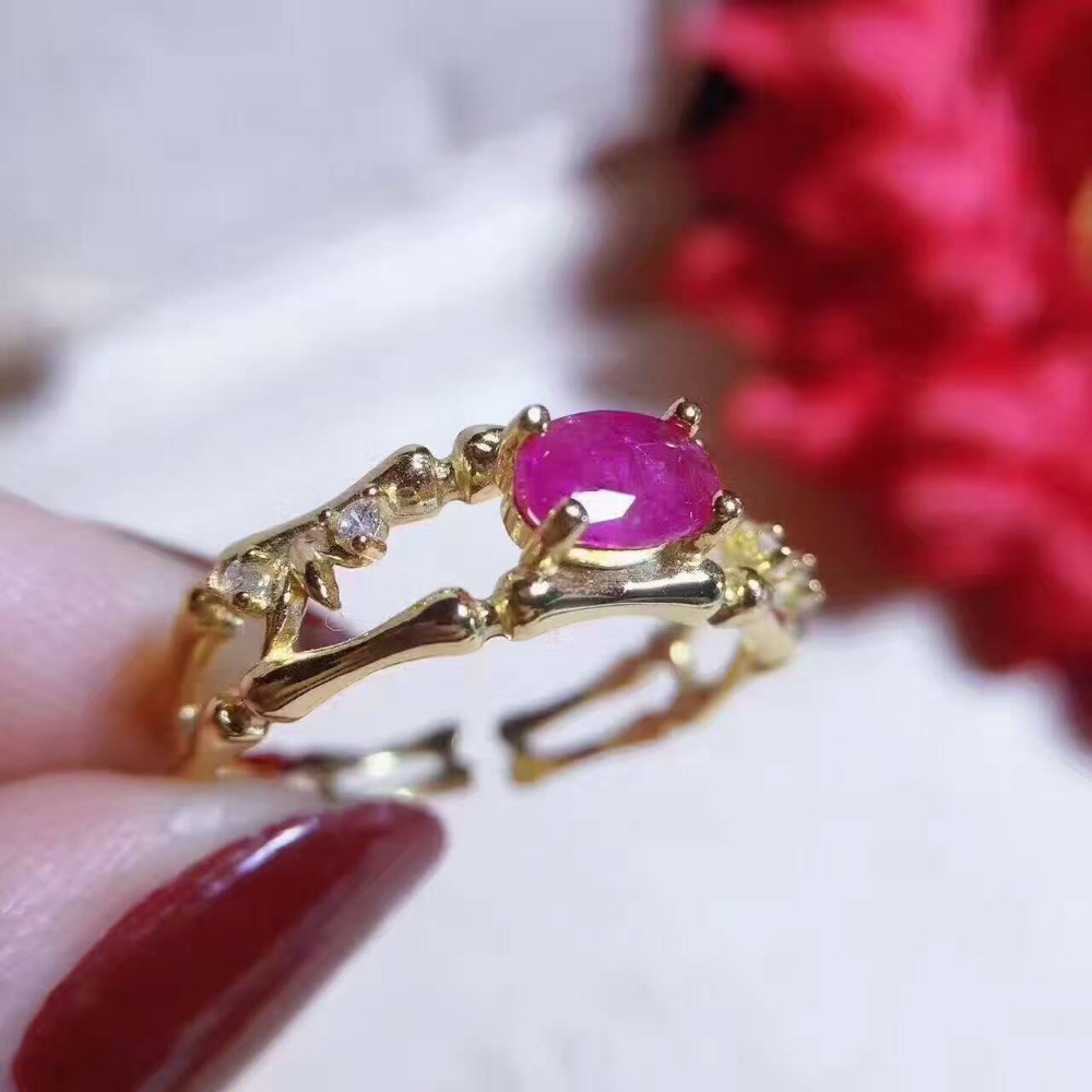 Natural red ruby gem Ring Natural green emerald ring 925 sterling silver trendy personality Hollow women girl party fine Jewelry