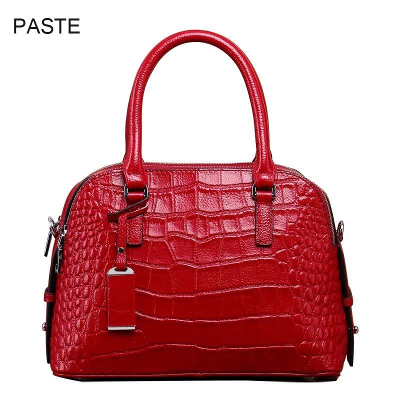 2018 ฤดูหนาวผู้หญิงหรูหรากระเป๋าถือหนังจระเข้แท้สุภาพสตรีกระเป๋าไหล่กระเป๋าซิป 3 ช่อง-ใน กระเป๋าสะพายไหล่ จาก สัมภาระและกระเป๋า บน   1