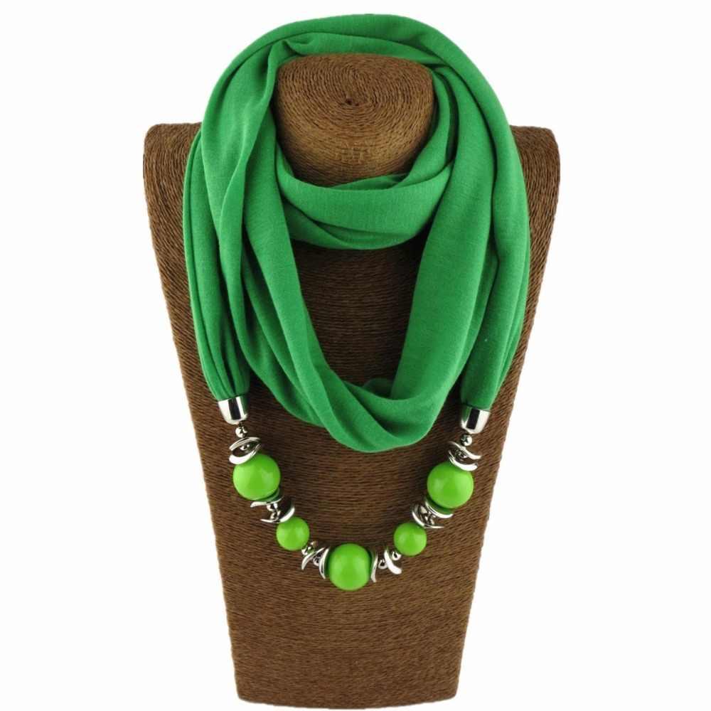 Moda szalik naszyjnik wisiorek kobiety duże koraliki ozdobny zwisający szal biżuteria wrap miękki czeski biżuteria prezent