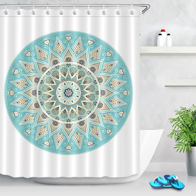 LB Indian Mandala Boho Lotus Shower Curtain Paisley Medallion Ethnic Hippie Bath Curtains Bathroom Home Decor With 12 Hooks Set