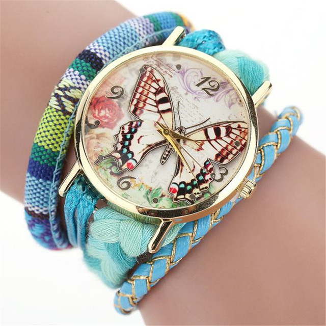 Fashion Beautiful Casual Women Watch Butterfly Pattern Weave Wound Wrap Bracelet
