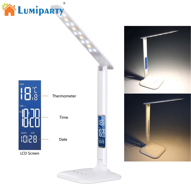 LumiParty Creative Folding LED Desk Light Eye-caring Dimmable Touch Control Calendar Reading Table Lamp Night Light jk35 folding 4w led table lamp with child eye protection light desk lamp for study portable ed light with calendar alarm colck