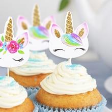 24 unids/set unicornio fiesta pastel insertar despedida de soltera fiesta boda decoración Feliz cumpleaños bebé ducha fiesta suministros DIY Unicorno