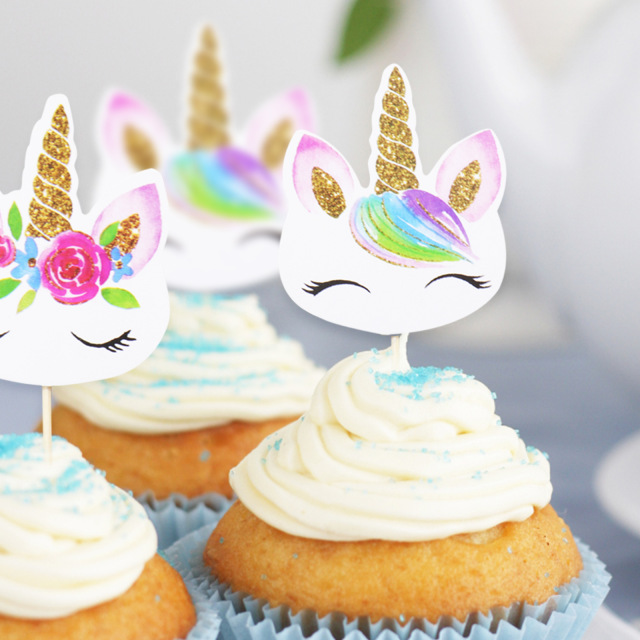 24Pcs Set Unicorn Party Cake Insert Bachelorette Wedding Decoration Happy Birthday Baby Shower Supplies DIY Unicorno