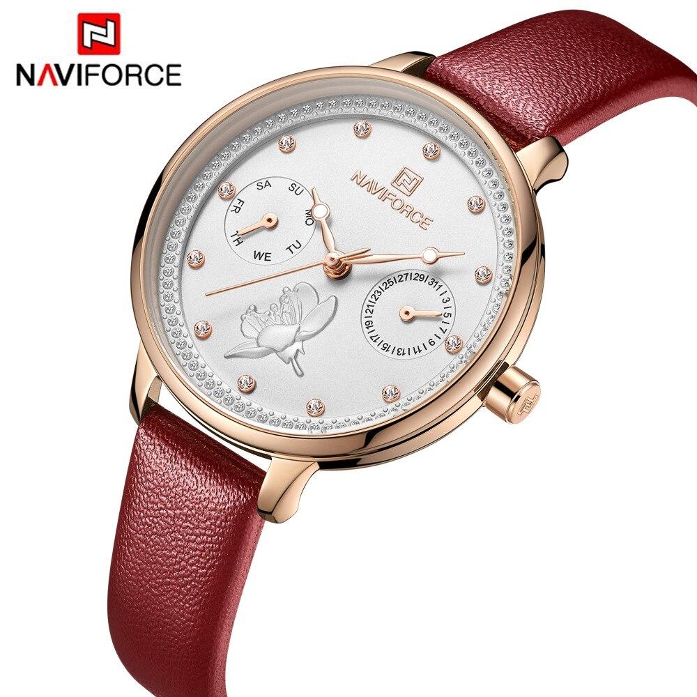 Naviforce moda feminina menina relógio de quartzo senhora pulseira de couro alta qualidade casual relógio de pulso à prova dwristwatch água presente para a esposa/mãe
