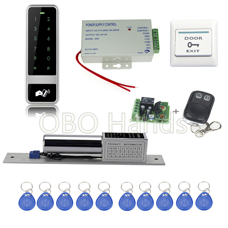 Full DIY door control kit set metal keypad +electronic bolt lock +power supply+key fobs+door exit button+remote control remote control electronic door lock set automatically intellisense household warded lock with 4 remotes