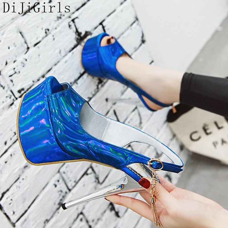DiJiGirls Pearly-lustre Leather Luxury Women Pumps Peep Toe Platform Stiletto Super High Heels Dress Party Shoes Pumps Lady 41