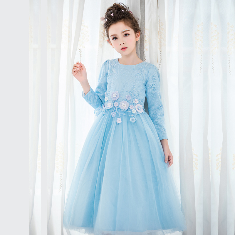 Children dresses blue girls long sleeve dress 2018 spring teenage lace costumes party wedding floral girls dresses