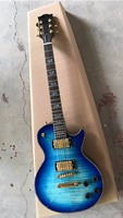Wholesale New LP Custom Shop Electric Guitar Abalone Inlay and Round With Gold Hardware In Blue Burst 170606