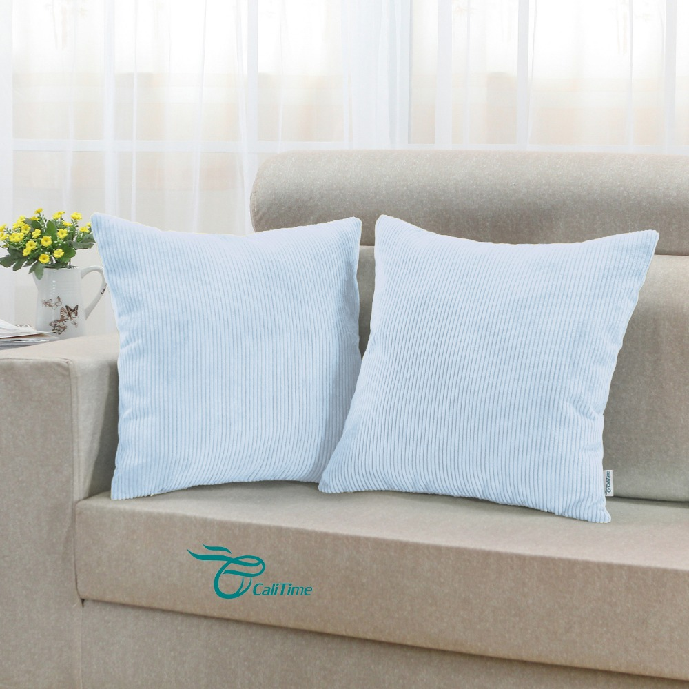 2PCS Square CaliTime Cushion Cover Pillows Shell Home Sofa Decor Corduroy Striped Super Soft Comfortable 18X18 Baby Blue