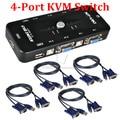 4 Port USB 2.0 KVM VGA SVGA Switch Hub Box Selector Adapter with 4pcs KVM VGA Cable for PC Keyboard Mouse Monitor