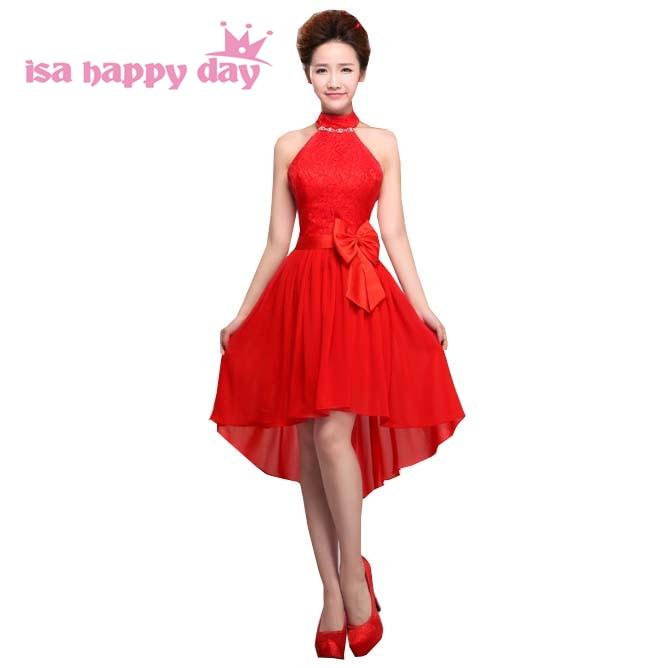 Shoulder Off Knee Length Maxi Bride Dresses Plus Size Robe De Soiree 2019 Red Halter Neck Corset High Low Party Dress H1360