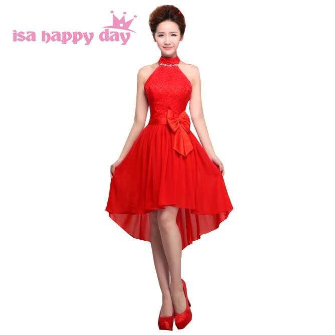 US $26.51 6% OFF shoulder off knee length maxi bride dresses plus size robe  de soiree 2019 red halter neck corset high low party dress H1360-in ...