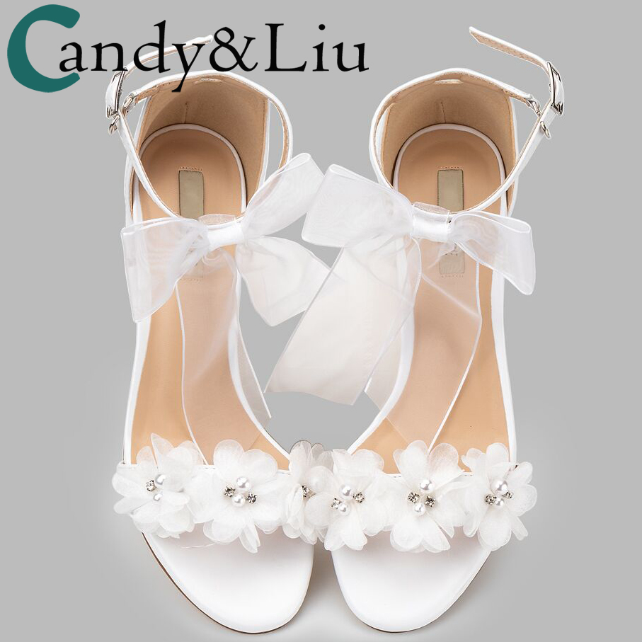 womem sandals white wedding shoes summer elegant Lace Bowknot one word wristband white flower cross with