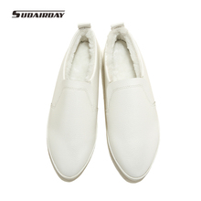 Plus Size 32-42 New 2016 Women Winter Genuine Leather Flat Shoes Women's Plush Warm Shoes Woman Flats Loafers zapatos mujer