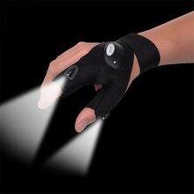 Одна деталь перчатки без пальцев со светодио дный подсветкой перчатки с фонариком Кемпинг пеший Туризм Охота Прихватки для мангала левый/правый Перчатки с фонариком Рыбалка на свежем воздухе работа