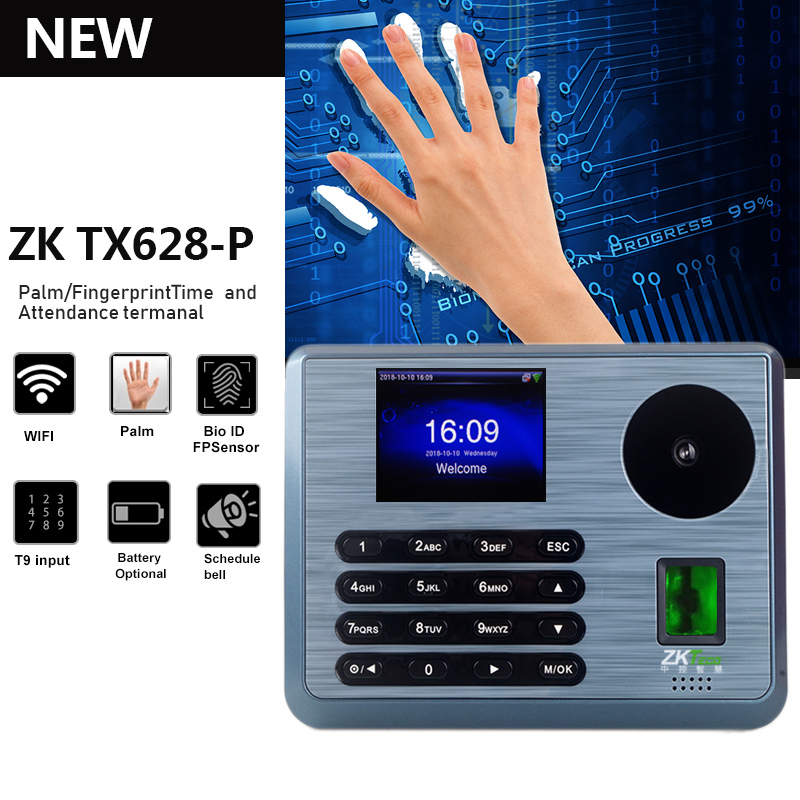 ZK TX628-P Multimodal Palm Recognition Attendance Terminal  Fingerprint Palmprint Hybrid Recognition With WIFI Function