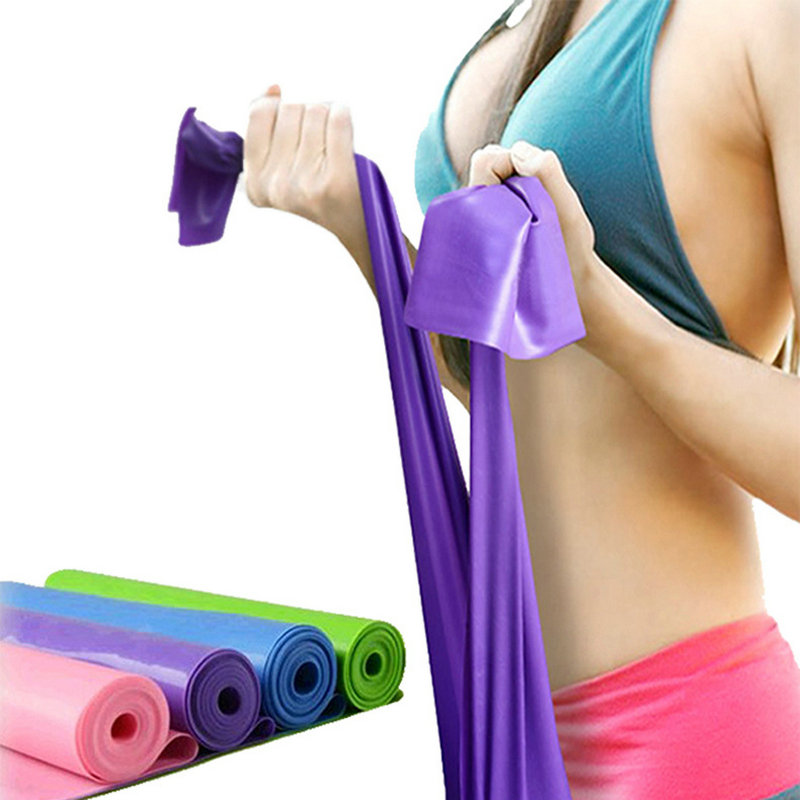 2019 New Style 1.5m Elastic Yoga Pilates Rubber Stretch Exercise Band Arm Back Leg Fitness All Thickness 0.35mm Same Resistance Free Shipping Yoga