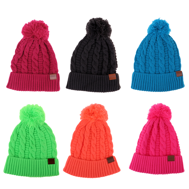 17d8f70d9 Women Men Winter Pom Pom Beanie Hat Warm Fleece Lining Knit Ski Ca...
