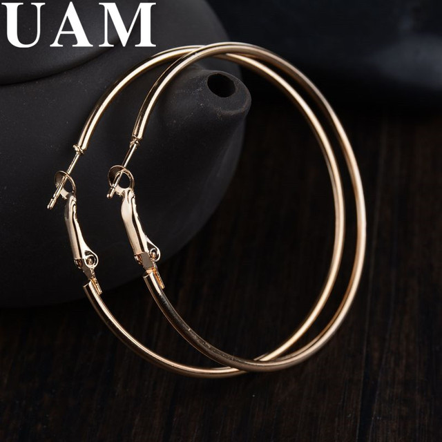 UAM Simple Ear Accessories Large Circle Hoop Earrings For Women Punk Gold  Silver Earings European Brincos Dropshipping Jewelry 41cbb3237f1f