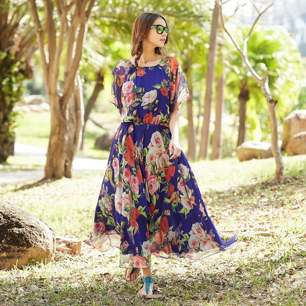 2017 Bohemia Floral Short Sleeve Holiday Beach Maxi Dress Sundress Maternity Beach Dress Pregnancy Sundress