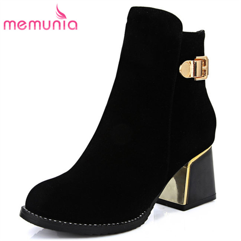 MEMUNIA 2018 new ankle boots for women comfortable round toe boots autumn winter high heels women boots big size 33-43