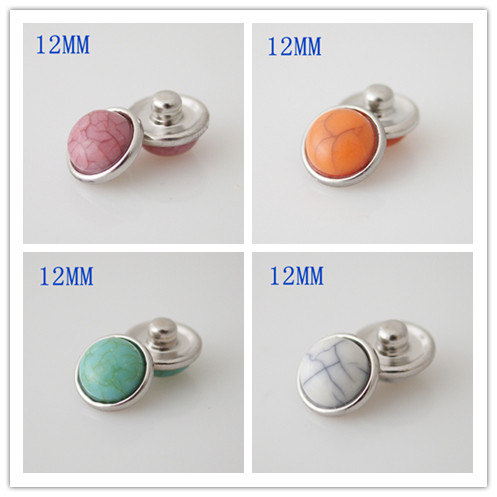 10pcs/lot 12mm natural stone snap buttons for snaps jewelry button bracelets fit bracelets Bangles jewelry