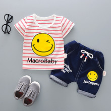 Baby Infant Boys Sets 2017 Summer Smile Striped Tops Short Pants Clothes Cotton O neck Kids