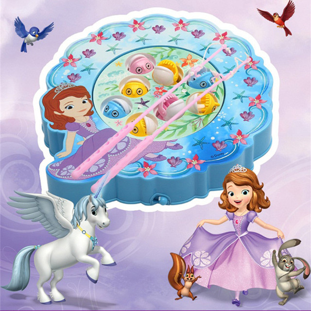 Disney PrinSofia the First Toy Musical Plastic Fishing Game Birthday Gifts Electronic Fishing Toys with Music for Kids Girls